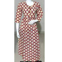 Flower Print Cotton Shub Kurti