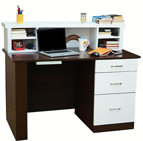 Delicieux Brown And White Mubell Nordic Study Table In 4 Feet X 2 Feet Size With Hutch