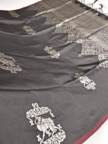 07cf129e2a Wedding Wear Printed Black soft Silk Saree, Machine Made, 6.3 m (with blouse