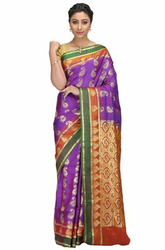 Hand Woven Purple Bangalore Pure Hand Woven Purple Bangalore Pure Silk  Sarees