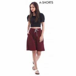 Royskart Brown Ladies Cotton Shorts