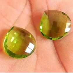Dazzling Pear Cut Peridot Gemstone Checker Cut Handmade Loose Gemstone