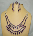 Silver Amethyst And Zircon Ring Necklace Earrings Set