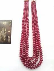 Source Natural Bangkok Ruby Glass Filled Smooth Rondelle Beads Strand Necklace