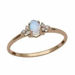 9k Yellow Fine Gold Moonstone Oval With Diamond Women Solitaire Accents Ring