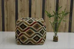 Rustic Jute Wool Kilim Ottoman Pouf Hand Woven Jute Kilim Poufs Ottoman Cover