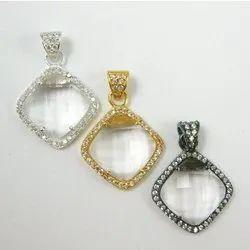 Crystal Quartz Cubic Zirconia Pave Set Gemstone Pendant