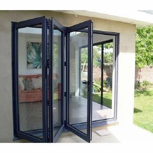 Toughened Glass Upvc Bi Fold Door 5 30 Mm Exterior Rs 650 Square Feet Id 21283801297