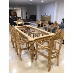 Teakwood Wooden Dining Table Frame, Size: 84x48 Inch
