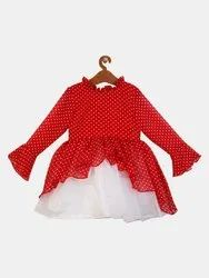 Shreem KIds Girls Red & White Printed Fit and Flare Dress