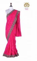Dark Pink Neeru S Color Fancy Silk Fabric Saree