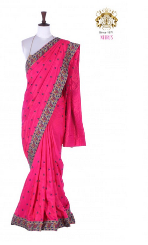 Dark Pink Neeru S Color Fancy Silk Fabric Saree