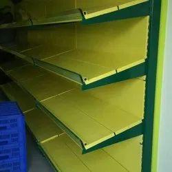 Wall Mounted Mild Steel Supermarket Vegetable Display Rack, 4 Shelves
