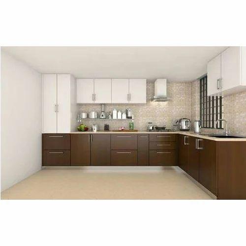 Brown And White Laminate Modular Kitchen, Rs 1400 /square