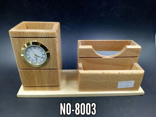 Wooden Pen Stand with Clock and Visiting Card Holder