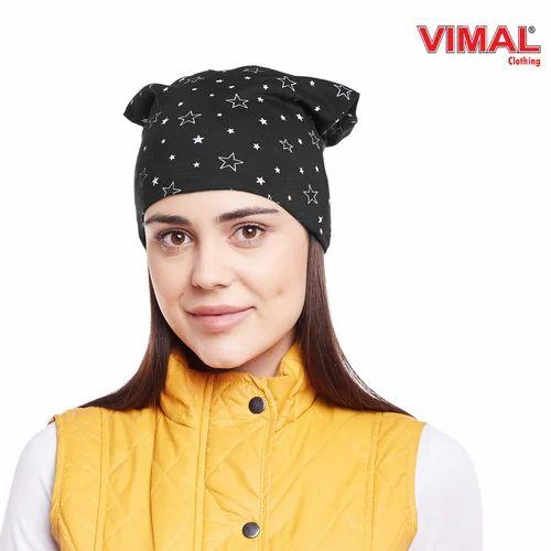 Vimal Black Star Printed Cotton Beanie Cap For Women eaf3fbdade9