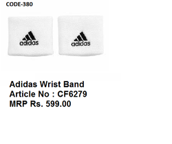 Polyester Black White Adidas Wrist Band MRP 599 Art CF6279, Size: Free