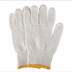 白色全指针织手套