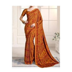 Party Wear Printed Brown Silk Saree, 6 m (with blouse piece)