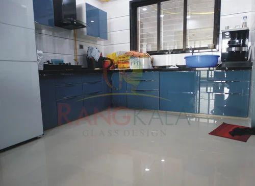 Monochrome Flat Kitchen Interior Profile Glass Design Shree