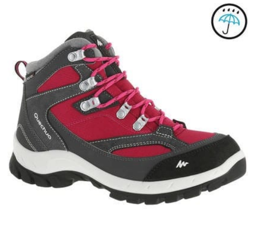 Pink Women Forclaz 100 High S Waterproof Hiking Shoes f69f7ceea8a1