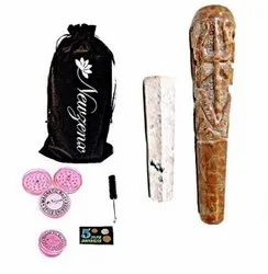 Stone Carved Crafted Chillum Hookah 6 Inch Included 1 Herb Crusher, Fancy Velvet Pouch & Accessories