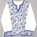 Whote And Blue Cotton Fashionable Ladies Top