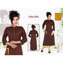 Brown Plain Cotton Kurti