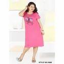 Printed Half Sleeve Pink Hosiery Short Nighty, Size: Large