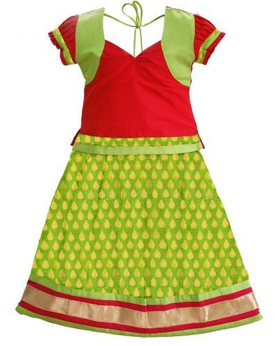 a6b93dbe62 Green With Red Pure Silk Bujuma Pattu Pavadai, Rs 1499 /piece | ID ...