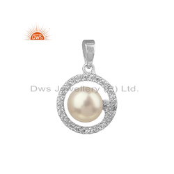 White Rhodium Plated Silver CZ Pearl Gemstone Round Moon Pendant