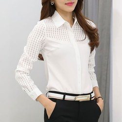 Full Sleeve Ladies White Designer Shirt