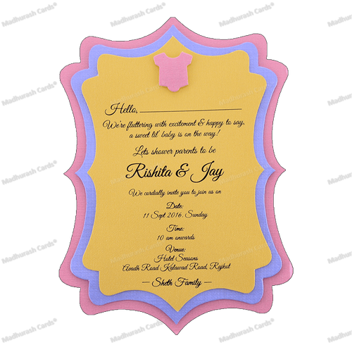 Baby Shower 3 Layer Invitation Card