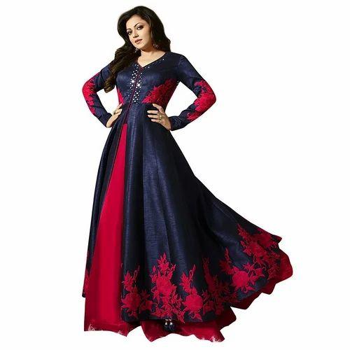 2bff540e16 Embroidered Navy_blue Gorgeous Navy Blue Bhagalpuri Silk Long Anarkali Suit
