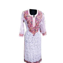 Ladies Full Sleeves Embroidered Kurtis, Size: S, M & L