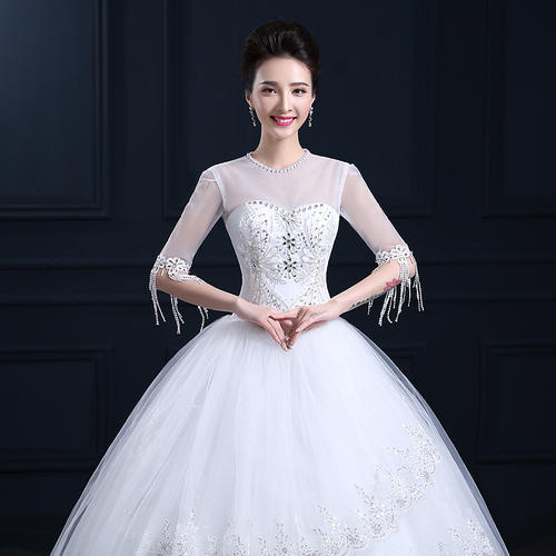 Christian White Wedding Gown Engagement Party Full Sleeves, शादी ...