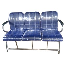AS Blue 3 Seater Leather Waiting Chair