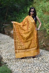 Banarasi Silk Copper Zari Checkered Dupatta