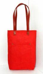 Red Jute Canvas Handbag