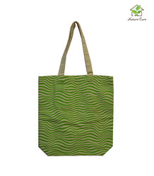 Canvas Bag With Single Colored Waves Print