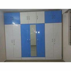 Steel White and Blue 8 Shelves Wardrobe