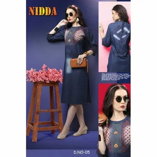 Casual Wear Stitched Denim Kurti, Size: XL