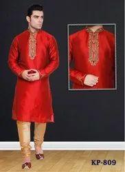 Silk Kurta Pajama Mens Wedding Wear, Size: 38-48