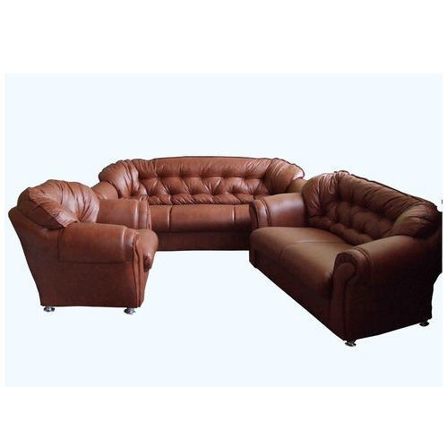 Button Bonded Brown Designer Leather Sofa Set, Rs 49800 /set | ID ...