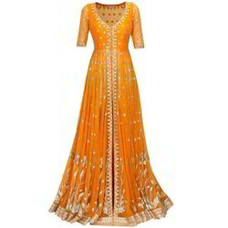 Georgette Orange Anarkali Suits