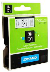 Dymo 12mm 45013 Black on White Label Tape