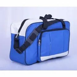 Blue and White Polyester Plain Luggage Bag