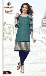 Female Plain Blue Kurti Dress Material