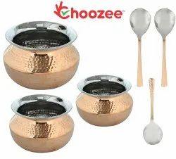 Choozee -Steel Copper Serving Biryani/Dahi Handi Set of 3 Pcs with Serving Spoons (400ML, 600ML