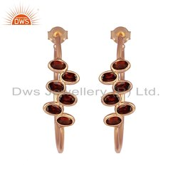 Glorious Red Garnet Gemstone 925 Silver Rose Gold Plated Hoop Earrings